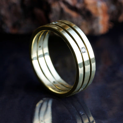 Diamond Wedding Band, Stacked 14k Yellow Gold Ring-DJ1002YG - Jewelry by Johan