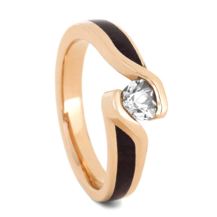 Wood Engagement Ring in 14k Rose Gold with Tension Set Sapphire-2903 - Jewelry by Johan