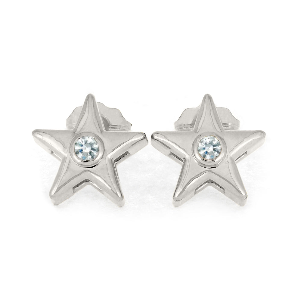 April Birthstone Gold Star Earrings with Diamond-4650D - Jewelry by Johan