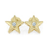 Yellow Gold Star Stud Earrings With Diamond