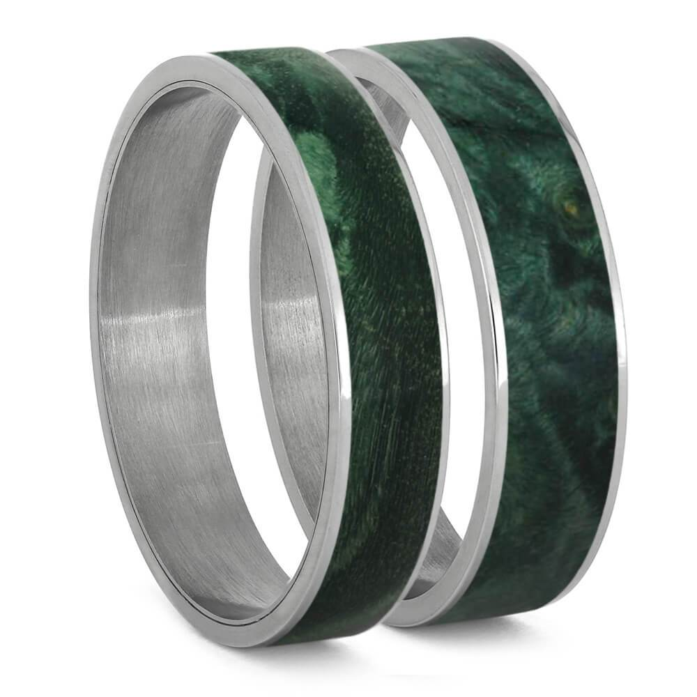 Green Box Elder Burl Wood Inlays For Interchangeable Rings, 5MM or 6MM-INTCOMP-WD - Jewelry by Johan