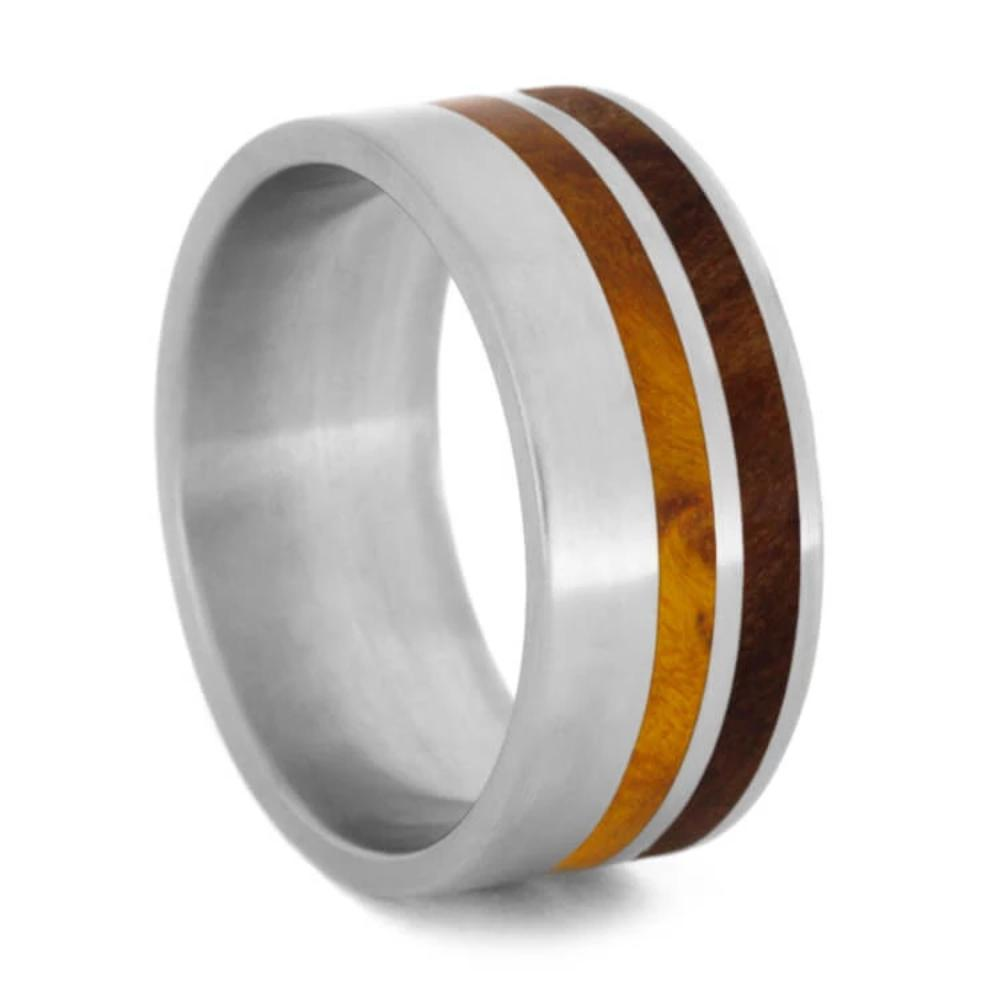 Wood Striped Ring with Redwood and Gold Box Elder Burl in Titanium-1143 - Jewelry by Johan