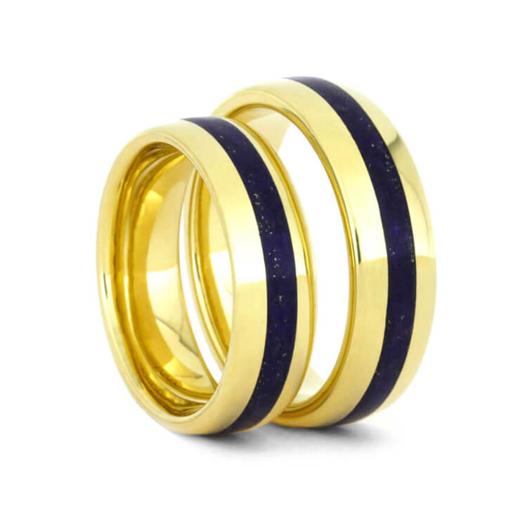 Lapis Lazuli Wedding Band Set, 14k Yellow Gold Matching Rings-3564 - Jewelry by Johan