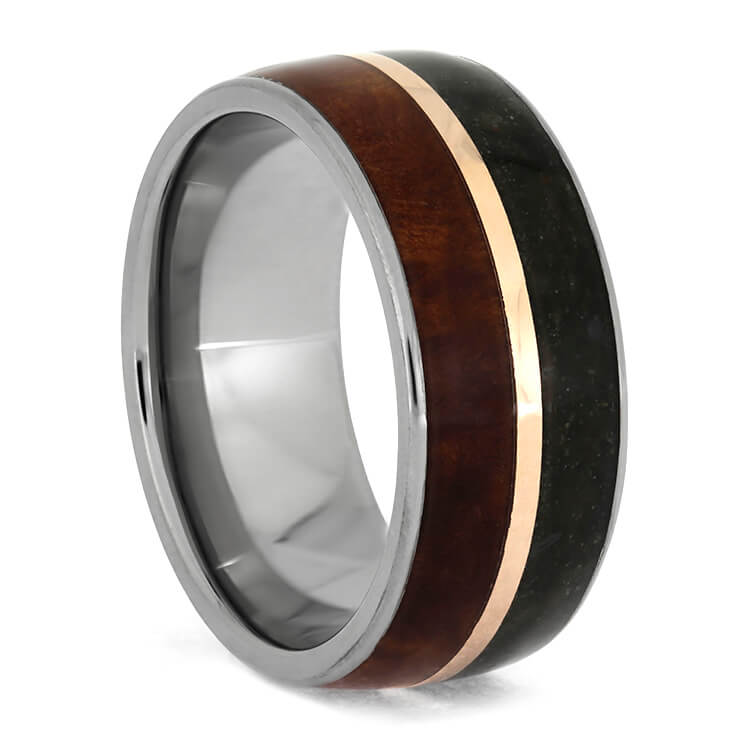 Wood and Dinosaur Bone Wedding Band With Rose Gold-3689 - Jewelry by Johan