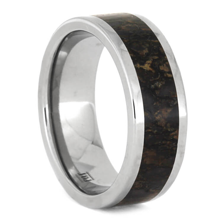 Fossilized Dinosaur Bone Men's Wedding Band, Size 10-RS9601 - Jewelry by Johan