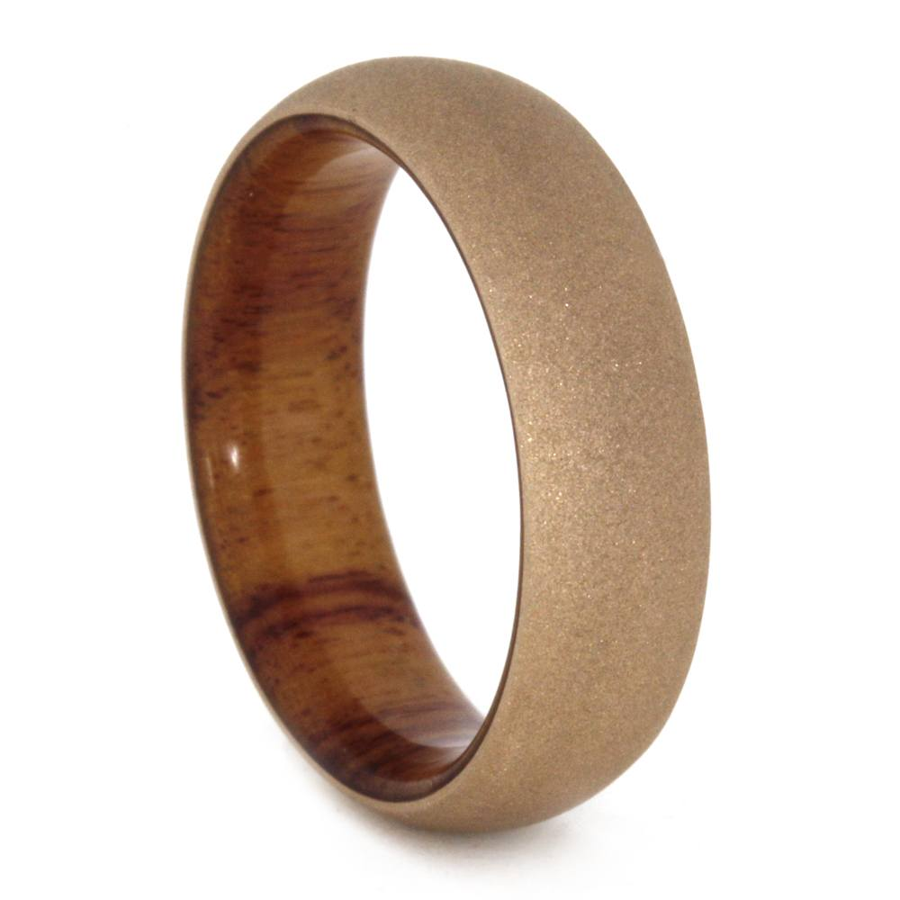 Rose Gold Wedding Ring Sandblasted Finish Wood Sleeve