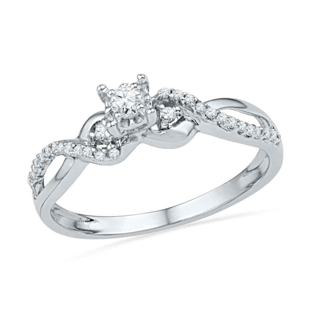 Diamond Engagement Ring, Sterling Silver