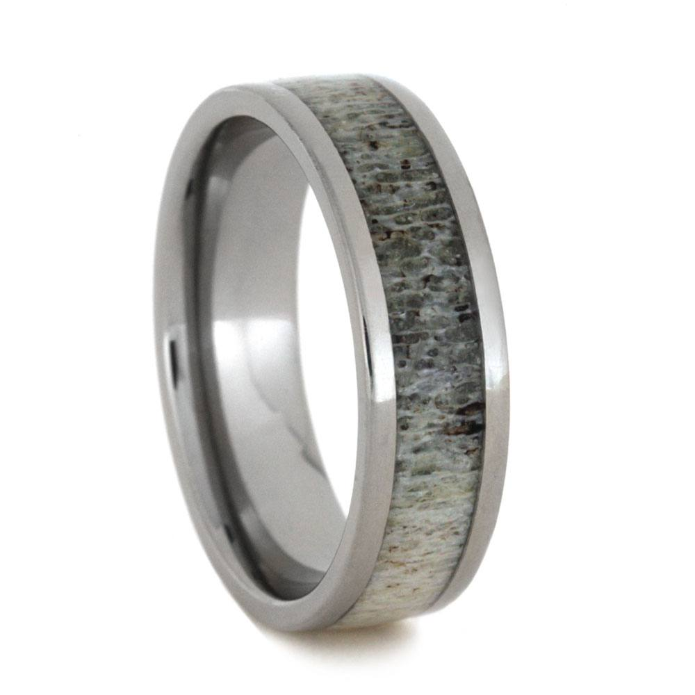 Handmade Tungsten Men's Wedding Band With Antler, Size 11.5-RS9143 - Jewelry by Johan
