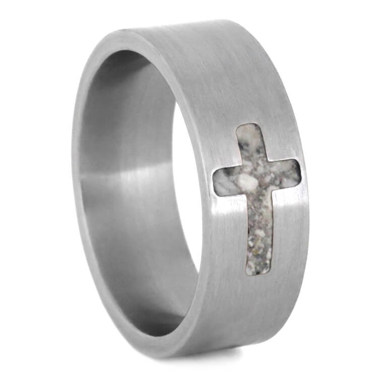 Cross Ring, Pet Memorial Band With Titanium And Cross Inlay-2704