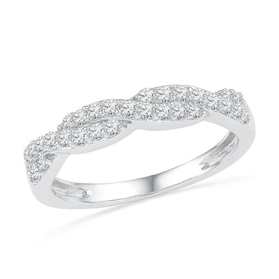 Diamond Twist Wedding Band in Sterling Silver