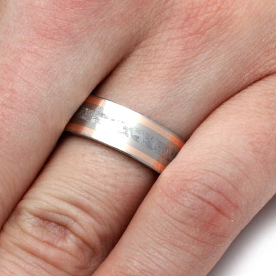 Meteorite Ring with Rose Gold and Wood Sleeve-2798 - Jewelry by Johan