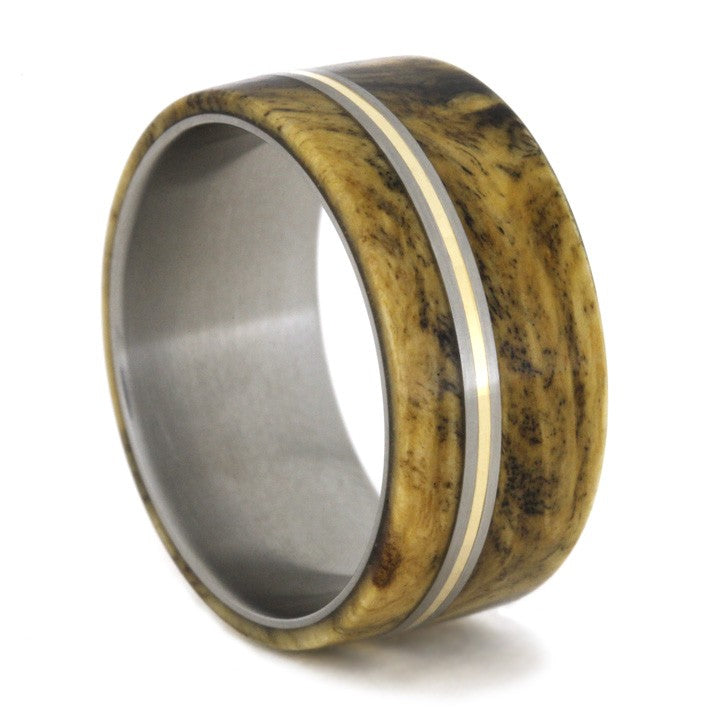 Buckeye Burl Wood Ring with Bronze and Titanium Pinstripes-1729 - Jewelry by Johan