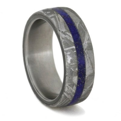 Men's Meteorite Ring with Lapis Lazuli over Titanium Sleeve-1606 - Jewelry by Johan