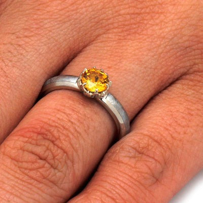 Lotus Flower Ring with Yellow Sapphire and Meteorite in White Gold-3185 - Jewelry by Johan