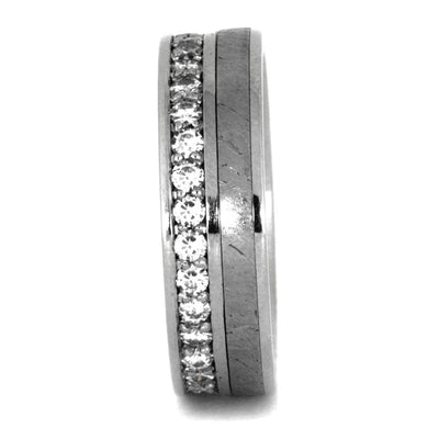Moissanite Eternity Band in Platinum with Meteorite Inlay