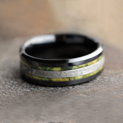 Black Ceramic Ring With Green Box Elder Burl And Meteorite-2150 - Jewelry by Johan