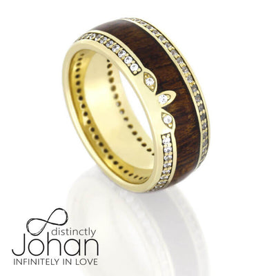 Diamond Eternity Wedding Band in Yellow Gold With Mahogany Wood-DJ1011YG - Jewelry by Johan