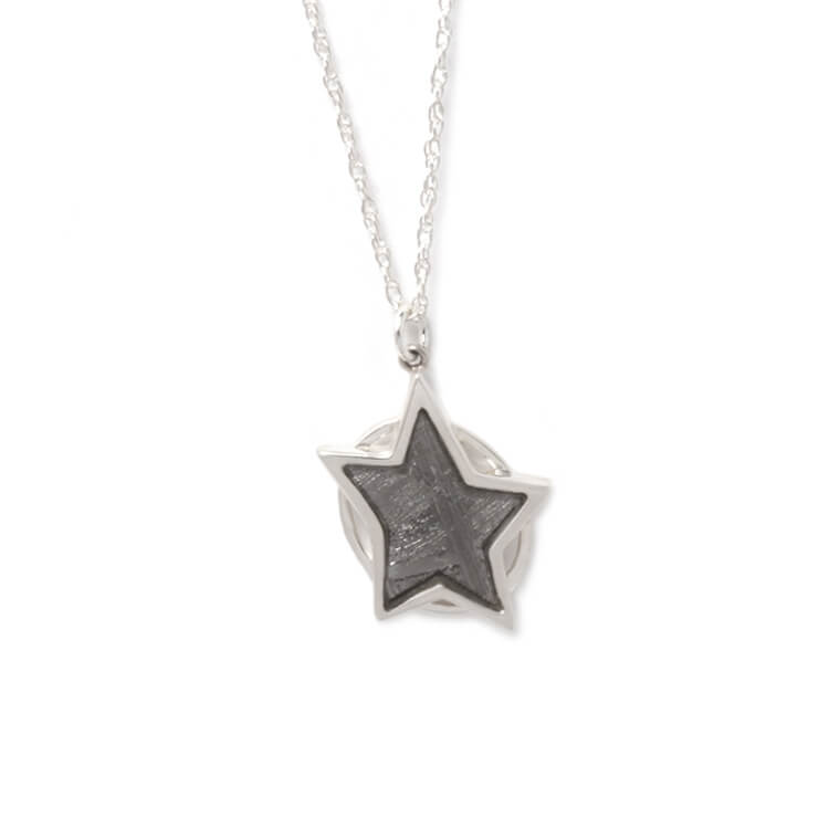 "18"" Authentic Gibeon Meteorite Star Necklace, In Stock-RSSB228 - Jewelry by Johan"