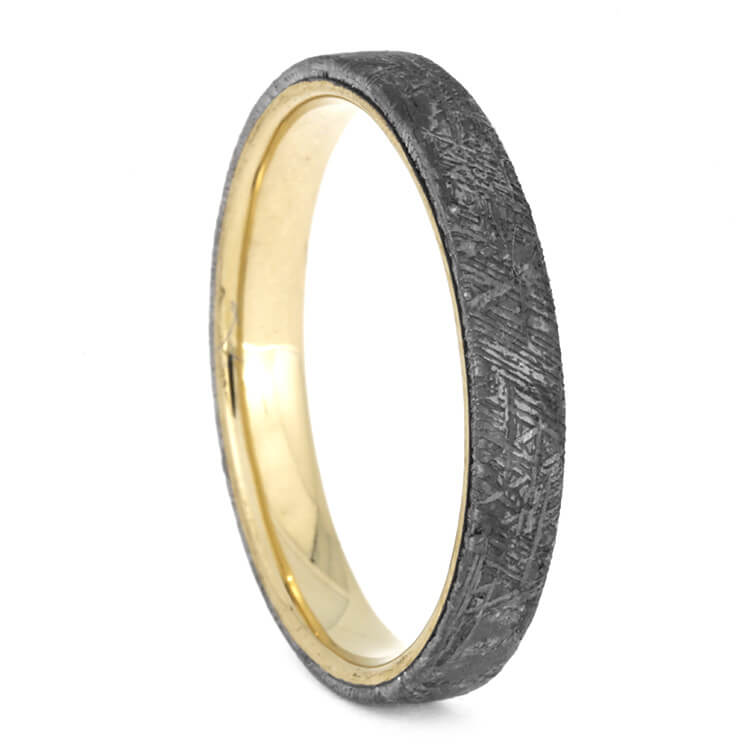 Thin Yellow Gold Wedding Band With Meteorite Overlay, Size 13-RS10162 - Jewelry by Johan
