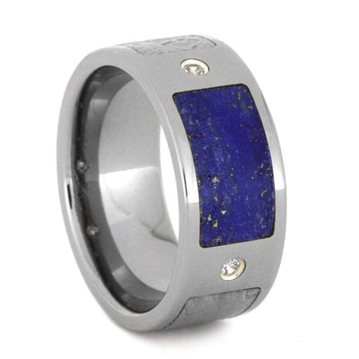 Titanium Men's Wedding Band with Meteorite, Lapis, and White Sapphires-2976 - Jewelry by Johan