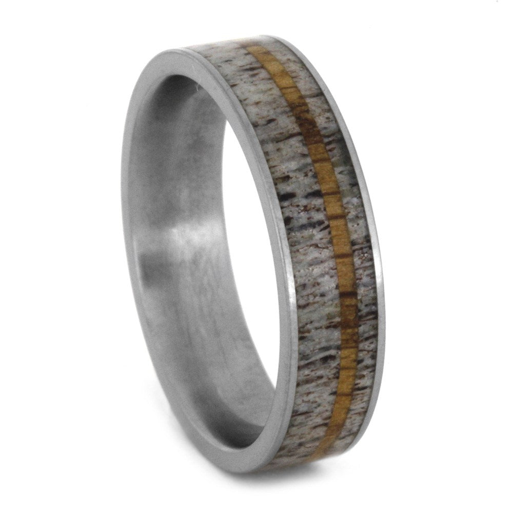 Antler Wedding Band for Man with Oak Wood Pinstripe, Size 10.25-RS8728 - Jewelry by Johan