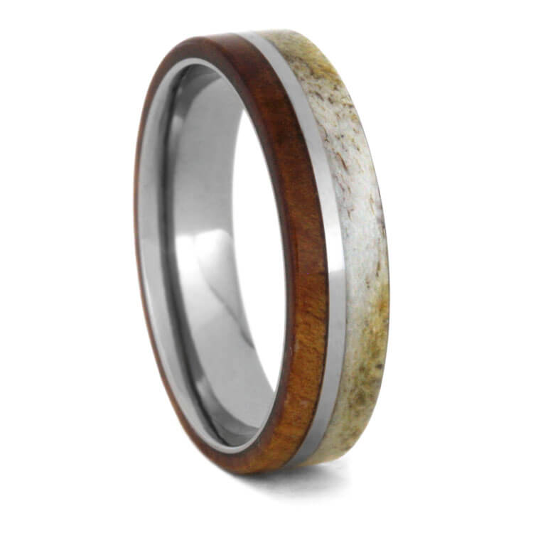 Custom Deer Antler Men's Wedding Band With Cherry Wood-3518 - Jewelry by Johan