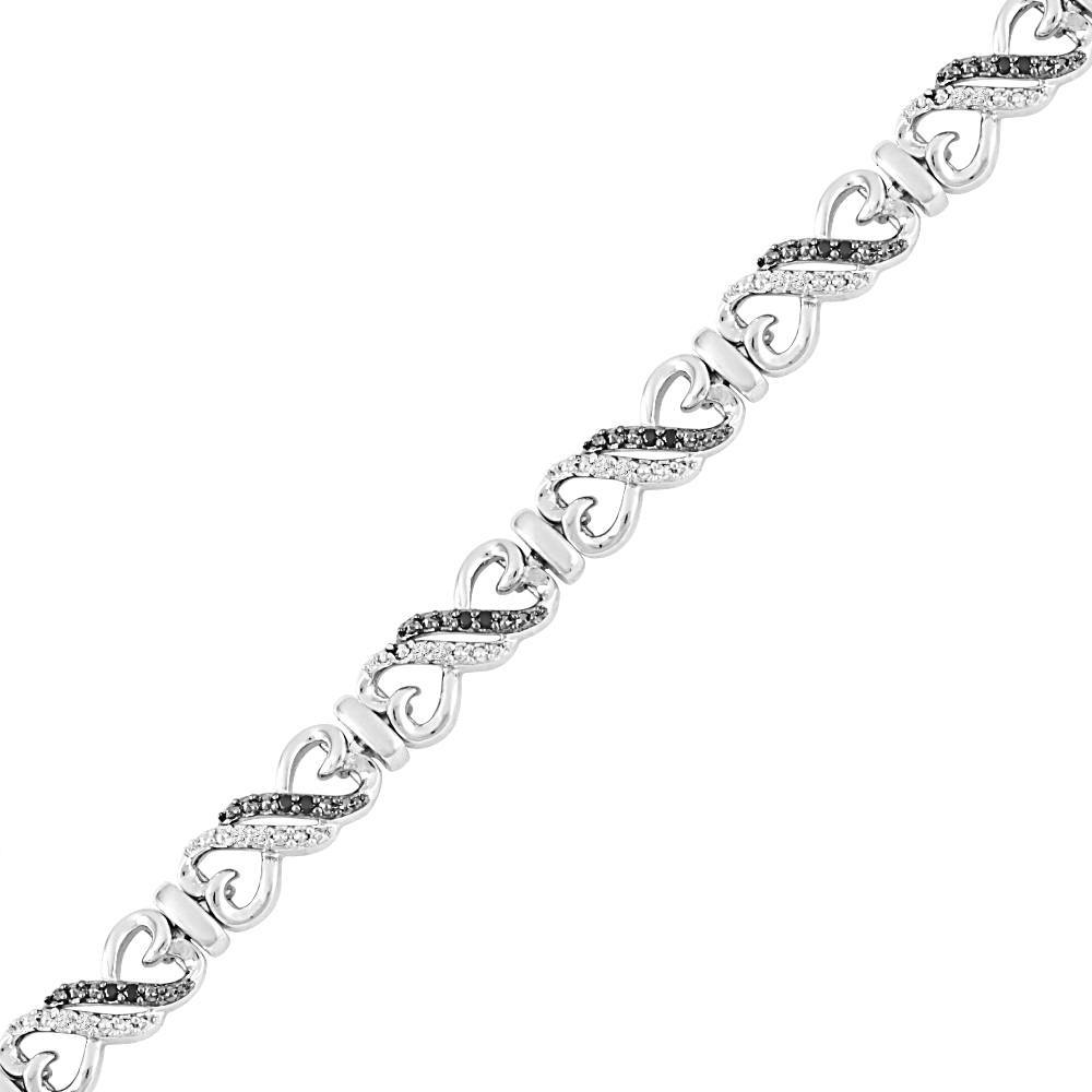 Black and White Diamond Heart Bracelet in Sterling Silver-SHBF072475EAW-SS - Jewelry by Johan