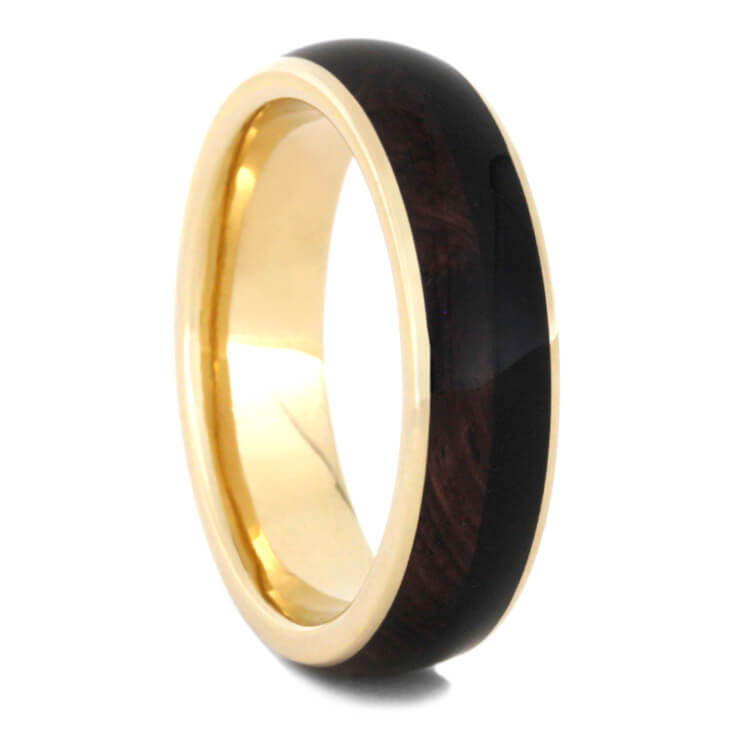 Yellow Gold Wedding Band Inlaid With Blackwood And Rosewood Burl-2307 - Jewelry by Johan