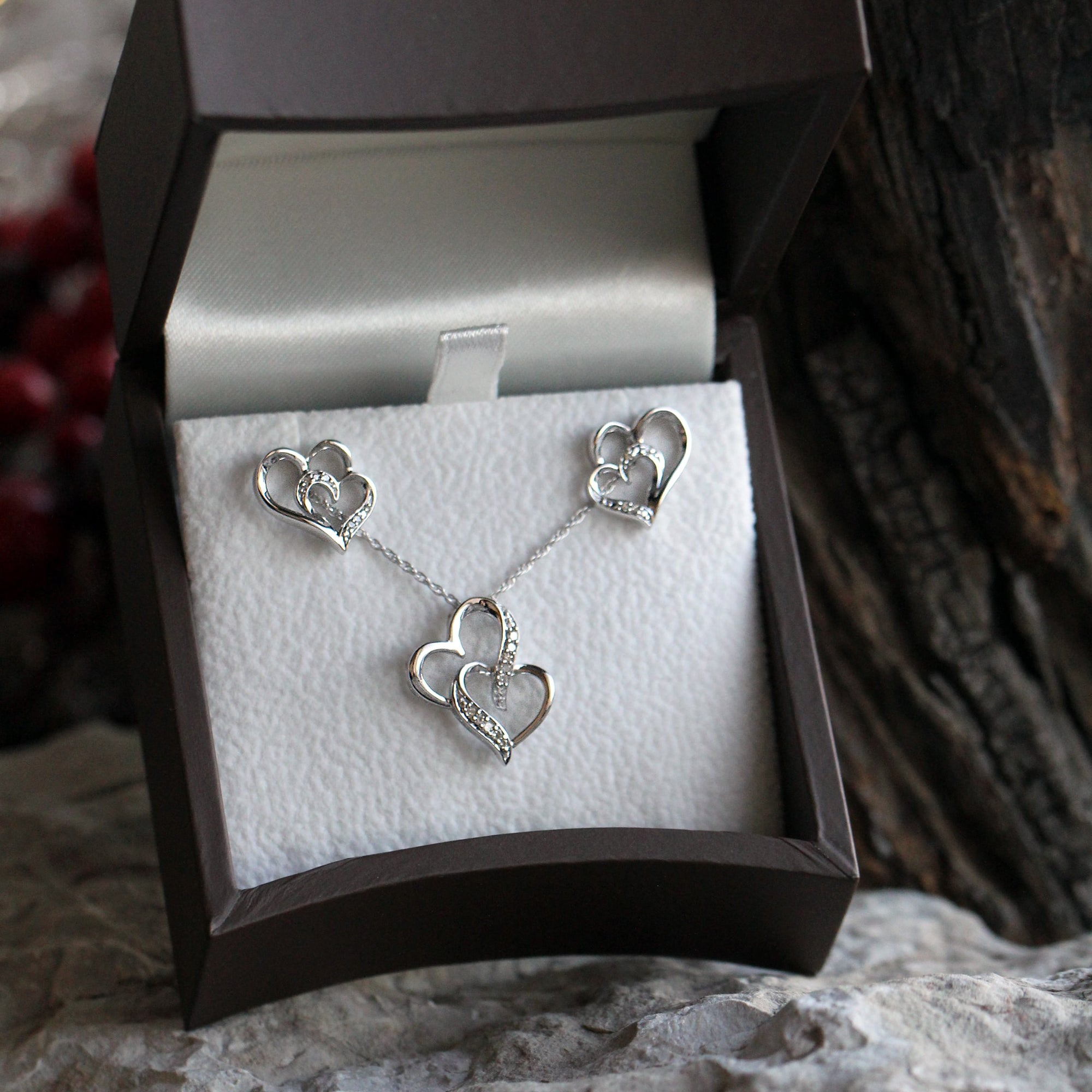 Sterling Silver Double Diamond Heart Gift Set Earring and Necklace-SHGS3000 - Jewelry by Johan