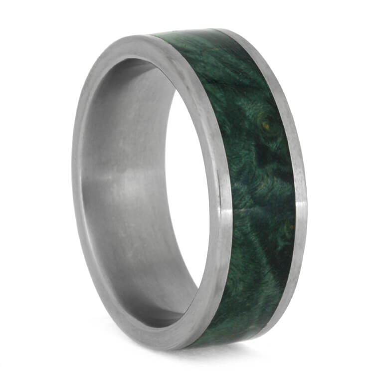 Green Box Elder Burl Ring In Matte Titanium, Size 8-RS10019 - Jewelry by Johan
