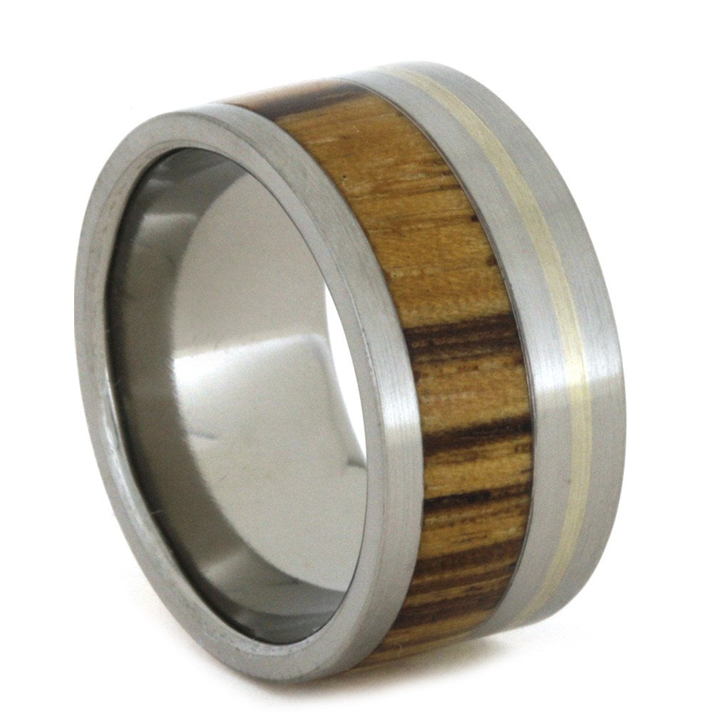 Wide Men's Wedding Band With Bocote Wood And Gold Pinstripe, Size 8.25-RS8637 - Jewelry by Johan