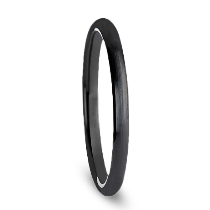 Womens Wedding Band, Thin Black Ceramic Ring, Brushed Finish-THC678-DBB - Jewelry by Johan