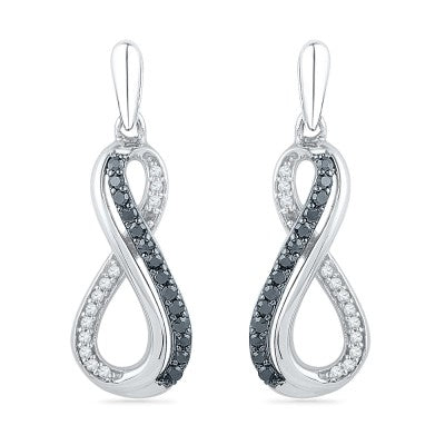 Black and White Diamond Infinity Symbol Earrings