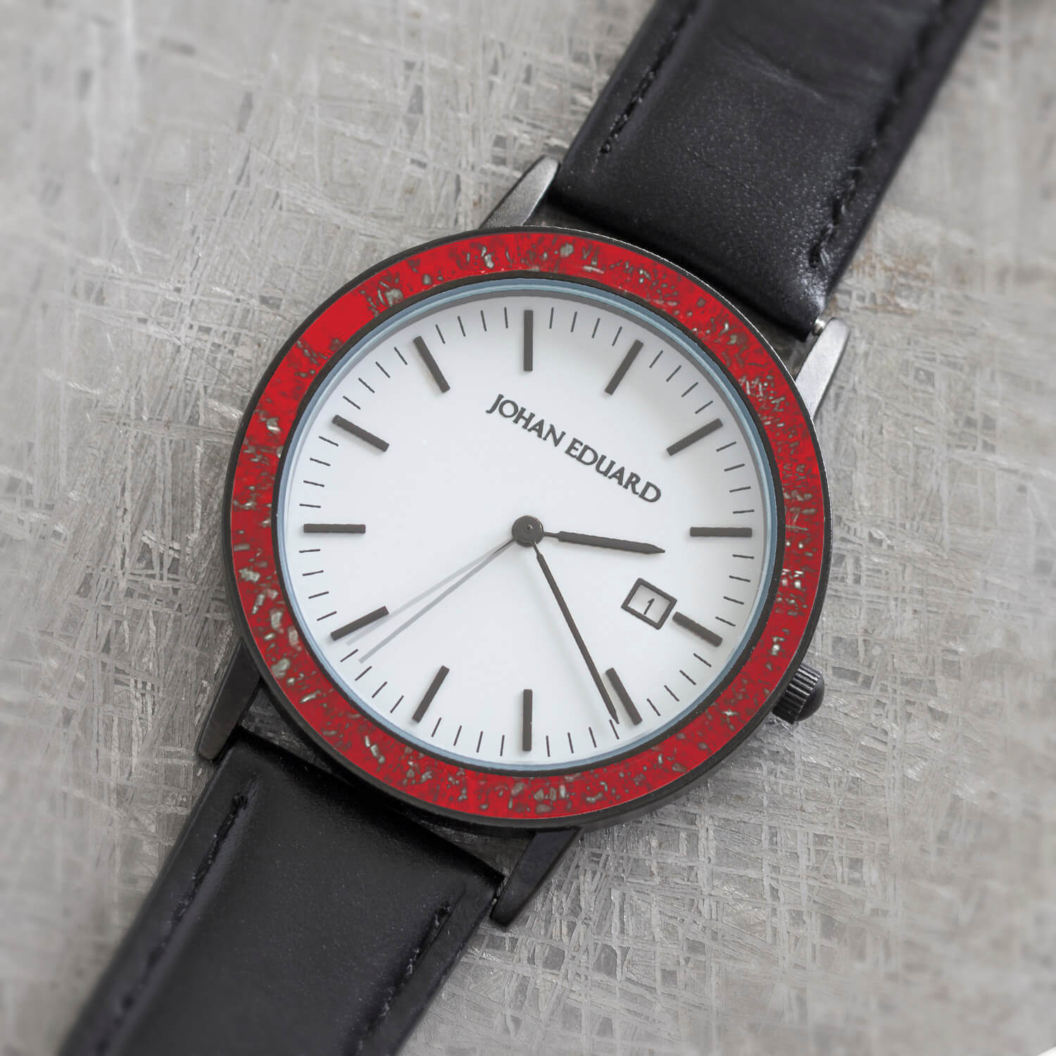 Red Stardust Meteorite Wristwatch With Black Leather Strap