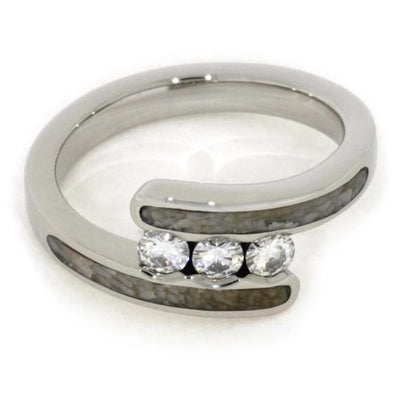 Moissanite Three Stone Ring with Dinosaur Bone in White Gold-1807 - Jewelry by Johan