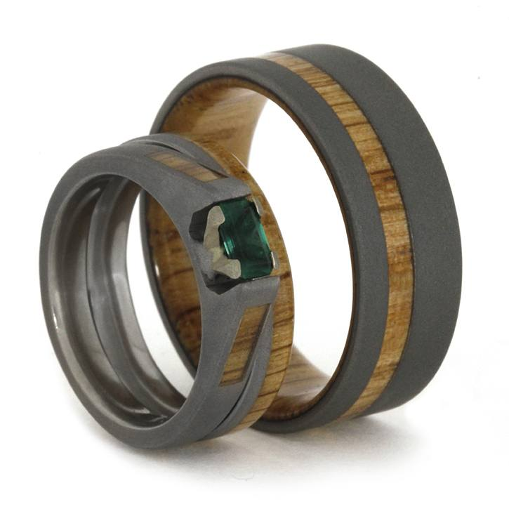 Wedding Ring Set featuring Oak Wood and Sandblasted Titanium-1852 - Jewelry by Johan