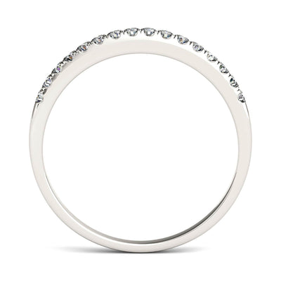 Profile View of Thin White Gold Half Eternity Moissanite Ring