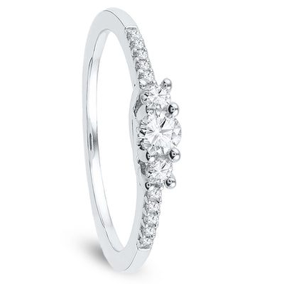 Accented Diamond Engagement Ring in Sterling Silver