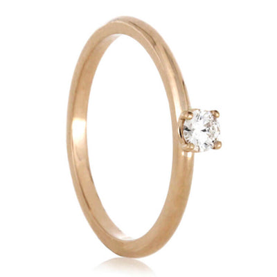 Diamond Engagement Ring, 14k Rose Gold Solitaire Ring-3566
