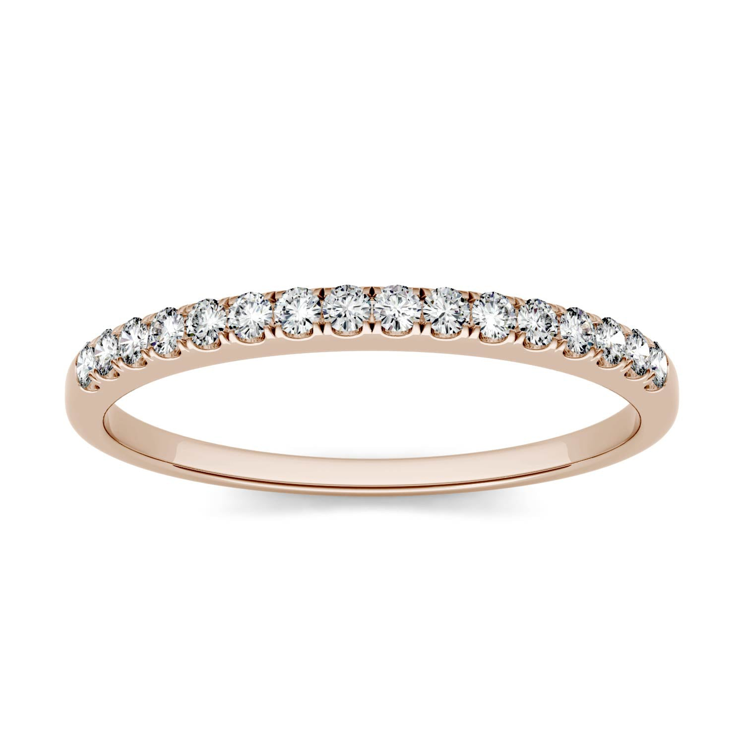 Charles & Colvard Moissanite Women's Half Eternity Wedding Band in Rose Gold-529470 - Jewelry by Johan