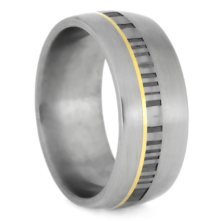Matte Titanium Wedding Band With Damascus And Yellow Gold, Size 9.5-RS9629 - Jewelry by Johan