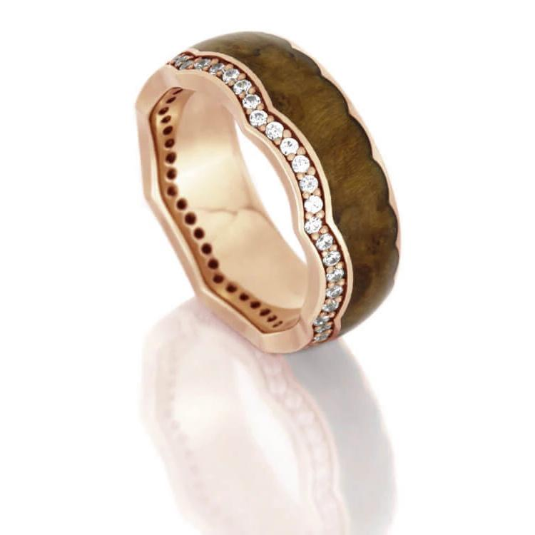Diamond Eternity Wedding Band, Rose Gold Crown Ring With Teak Wood-DJ1014RG - Jewelry by Johan