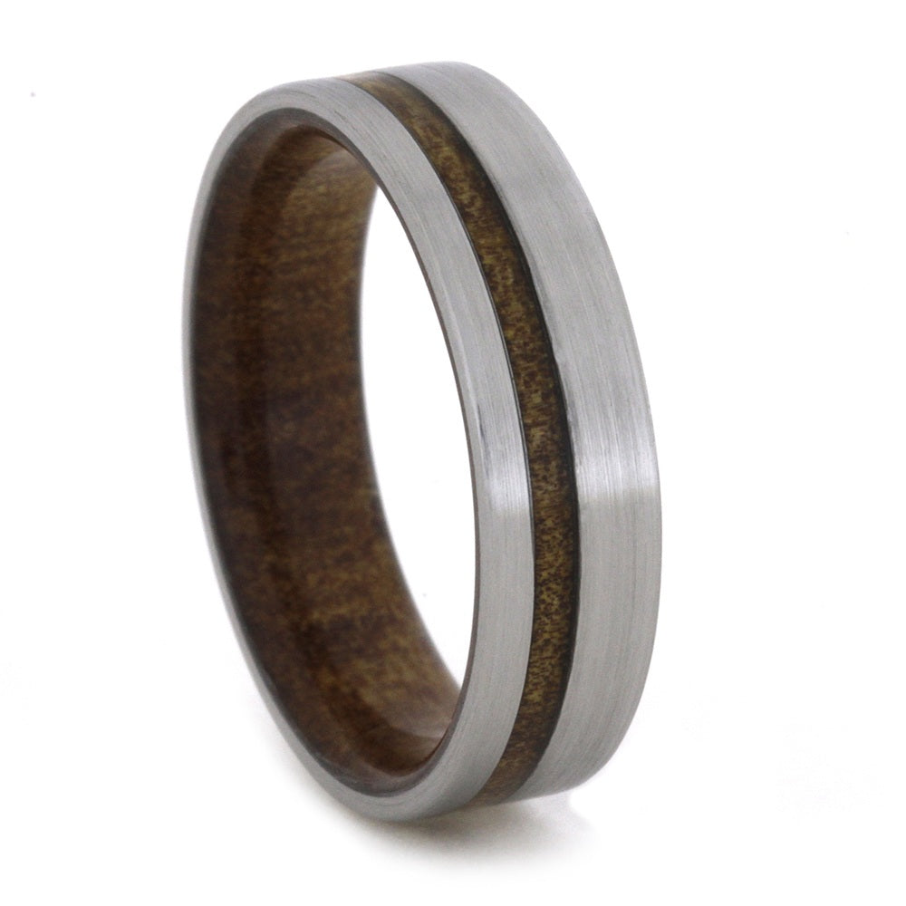 Kauri Wood Wedding Band with Brushed Titanium Finish-1848 - Jewelry by Johan