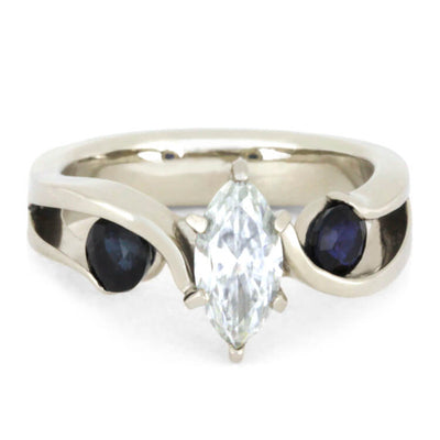 Marquise Diamond Engagement Ring with Meteorite in White Gold-2910 - Jewelry by Johan