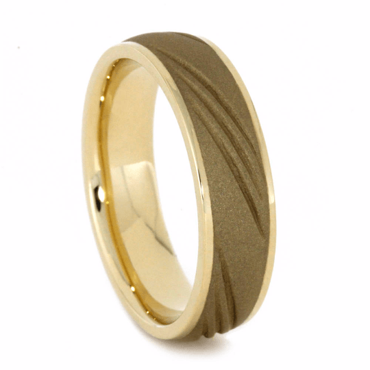 Sandblasted 14k Gold Wedding Band with Groove Design-2083 - Jewelry by Johan