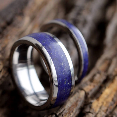 Lapis Lazuli Wedding Band Set, His And Hers Titanium Rings-3433