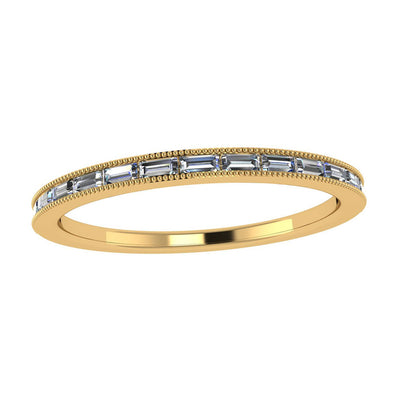 Womens Wedding Band, Baguette Diamond Band in 10k Yellow Gold ...