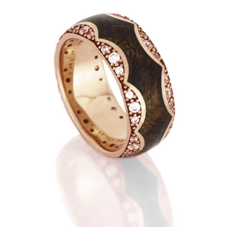 Unique Diamond Wedding Band With Mesquite Burl Wood in Rose Gold-DJ1009RG - Jewelry by Johan