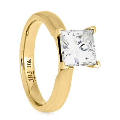 Classic Square Moissanite Solitaire, Yellow Gold Engagement Ring-2768 - Jewelry by Johan