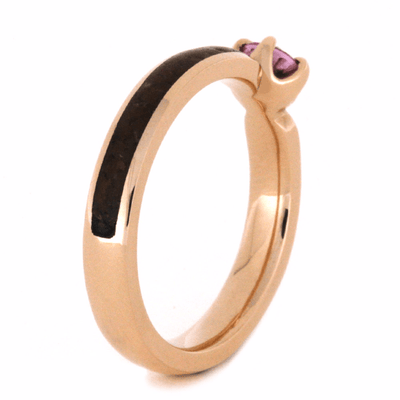 Pink Sapphire Engagement Ring in 14k Rose Gold with Dinosaur Bone-2217 - Jewelry by Johan